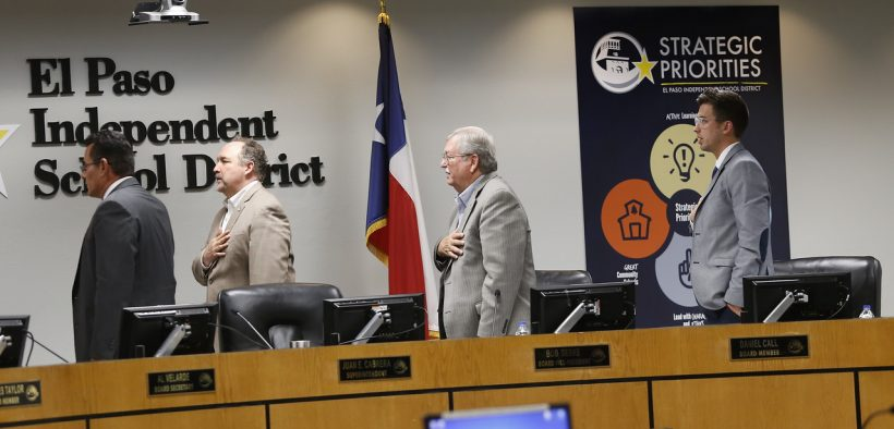 Juan Cabrera, second from left, and members of the El Paso Independent School District Board of Trustees opened their August 2019 meeting with the Pledge of Allegiance. |  Photo courtesy of EPISD