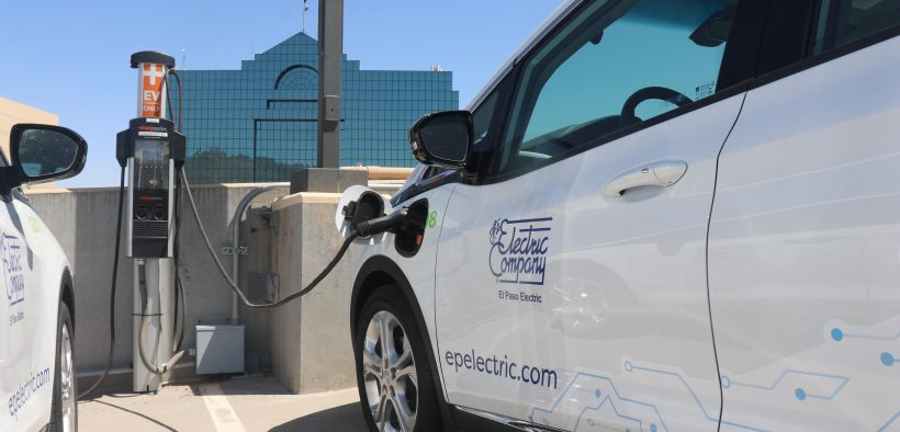 One of the electric fleet parked across the street from the El Paso Electric building in Downtown. The utility experienced blackouts for 7% of customers over the weekend, partly due to the heat, but did not anticipate needing to take steps to curb customer demand, officials said.  | Danielle Prokop/El Paso Matters