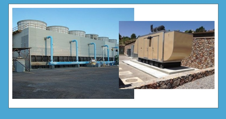 Cooling towers at the El Paso Electric Newman Power Station and (inset) El Paso Water backup generator.
