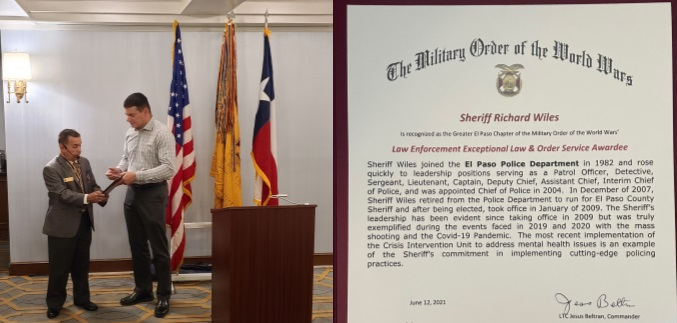 Military Order of the World Wars honors Sheriff Richard D. Wiles