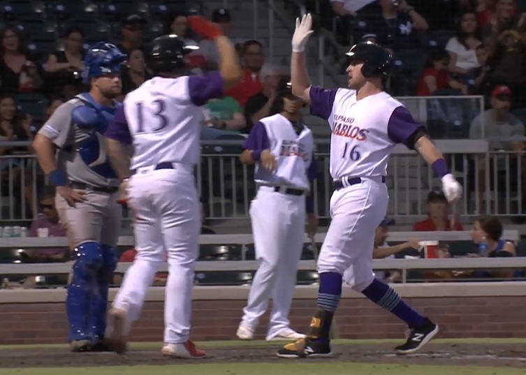 Patrick Kivlehan gets props after his home run in the 4th, the shot makes it the team leading 11th Home Run |   Clip courtesy EP Chihuahuas