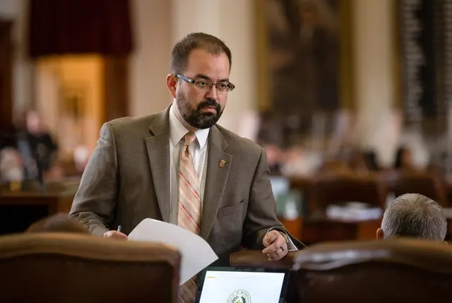 El Paso Democrat Joe Moody was stripped of his title as speaker pro tem after breaking quorum with other House Democrats on Monday to prevent debate on a GOP priority bill on elections. Credit: Evan L'Roy/The Texas Tribune