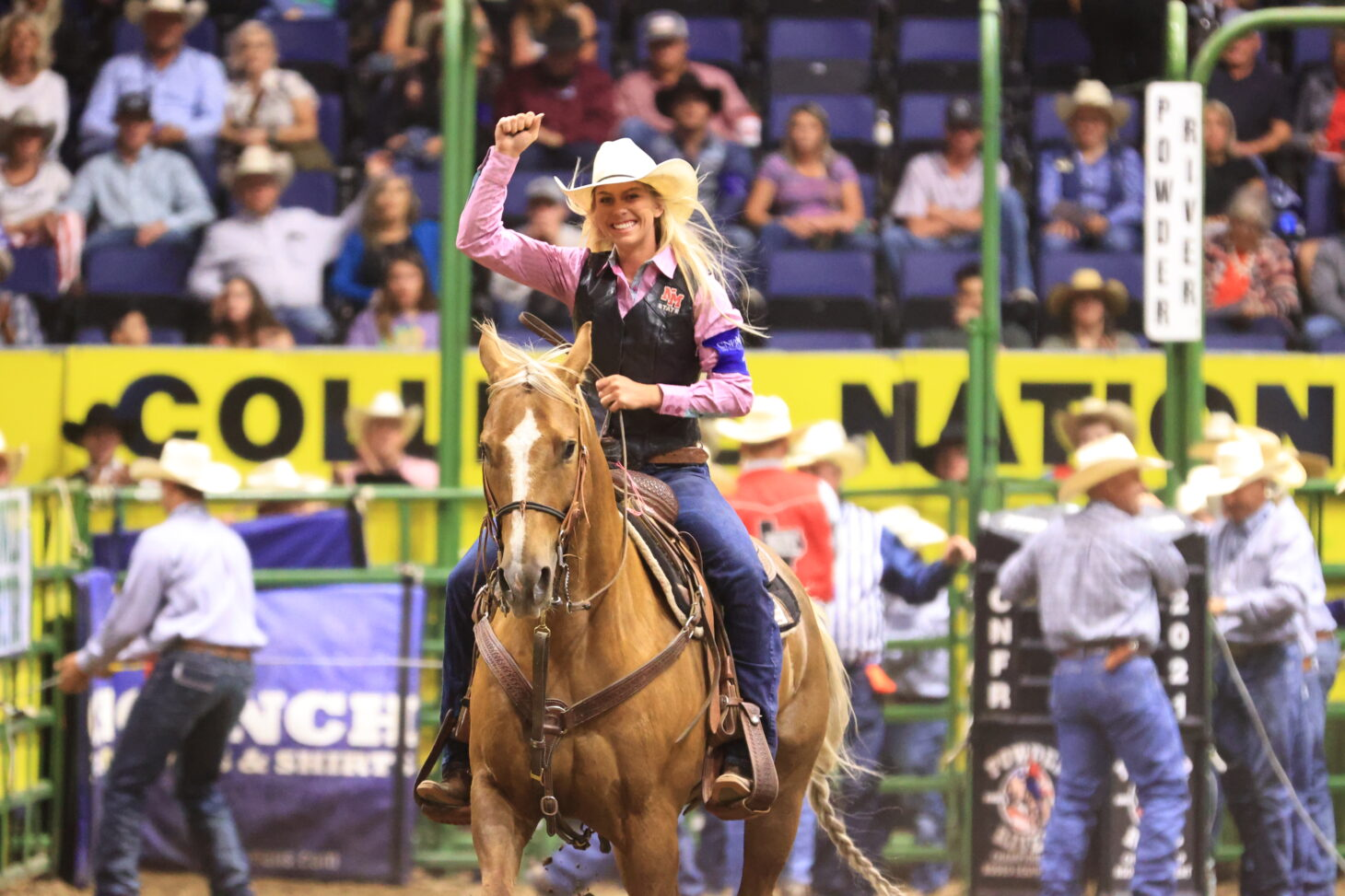Bethanie Shofner, a graduate student at New Mexico State University, competes in the breakaway contest at the College National Finals Rodeo in Casper, Wyoming, in June. She won the third round and tied the arena record – 1.6 seconds – for the fastest run roped at the finals.  | Courtesy CNFR