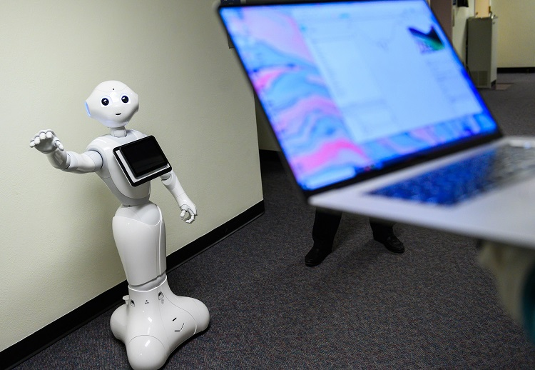 Pepper the robot was part of a study at New Mexico State University to evaluate robot interactions with humans. Last fall, Pepper could be found greeting guests at NMSU's student-run restaurant, 100 West Café. The study was a collaboration between the School of Hotel, Restaurant and Tourism Management and the Department of Psychology  |  NMSU photo by Josh Bachman