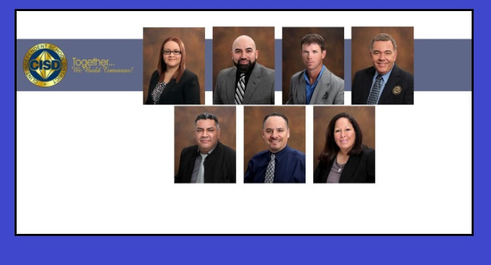"Arleen Parada, Board President; Arturo ""Rocky"" Cruz, 1st Vice President; James R. Pendell, Board Secretary; Adrian Perez, Member; Isela Torres, Member; Jaime Lopez , Member; Jarett Rogers , Member"