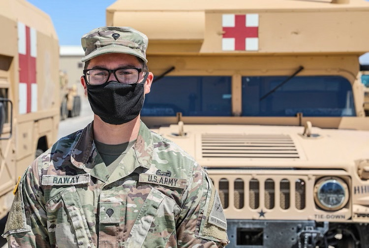 Spc. Maximilian Raway, a combat medic assigned to the medical platoon, Headquarters and Headquarters Battalion, 4th Battalion, 27th Field Artillery Regiment, 2nd Armored Brigade Combat Team, 1st Armored Division,  and Sgt. Brittany Lockhart, a radiology specialist with 47th Brigade Support Battalion, 2ABCT, 1AD, were the first to respond to the accident and they immediately pulled over to provide assistance.  | U.S. Army photo by: Staff Sgt. Michael West