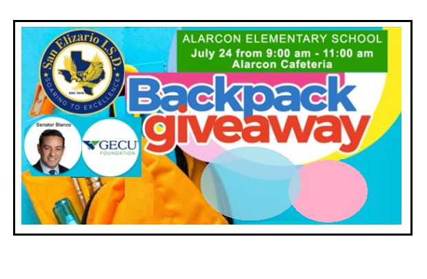 GECU, Senator Cesar Blanco to hold backpack giveaway for SEISD's Alarcon Elementary students