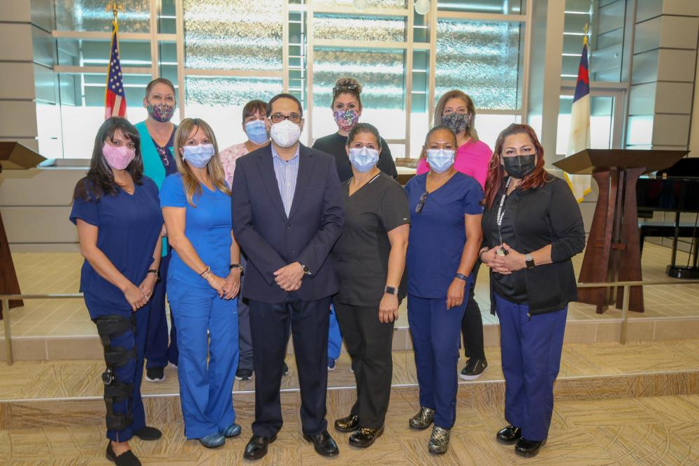 William Beaumont Army Medical Center Forensic Examiners gather for a photograph Aug.8 at the WBAMC Chapel. Forensic Examiners specializes in the care of survivors who have been victims of sexual assault and domestic abuse.(   |  Photo by Vincent Byrd, WBAMC Public Affairs