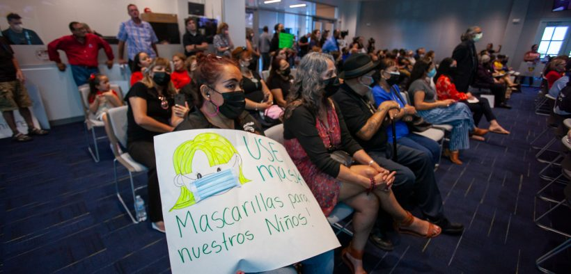 Advocates both for and against a mask mandate filled the El Paso Independent School District board meeting to capacity on Tuesday evening. The trustees passed the mask mandate, in defiance of Gov. Abbott's order, on a 6-1 vote.   Corrie Boudreaux/El Paso Matters