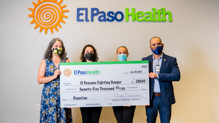 EPH Check Presentation to EPFH (from left to right) Karmela Garcia – Director of Programs at EPFH, Janel Lujan – COO at EPH, Sharon Perkins – CIO at EPH, and Gus Gonzalez- CFO at EPH