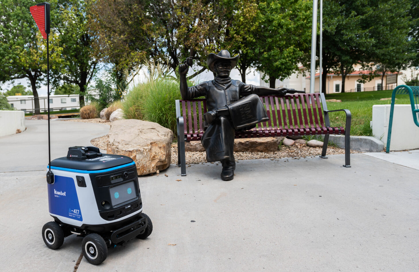 The Kiwibot food delivery service is launching at New Mexico State University, giving students, faculty and staff a quick option to get fresh meals from Sodexo-serviced locations on campus.      NMSU photo by Josh Bachman