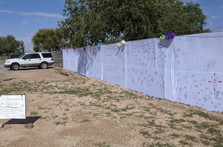 'In Remembrance/En Recuerdo' memorial fabric wall in place at Ascarate; Community can now sign