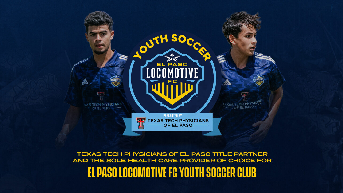 Two El Paso Locos players on either side of the logo, with their new sponsor below