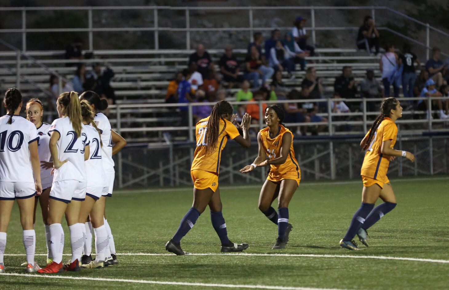 UTEP celebrates a goal | Photo by Ruben R. Ramirez – UTEP