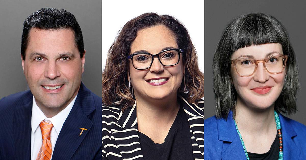 A trio of UTEP Graduate School administrators will lead a local effort to develop initiatives to strengthen grant-writing skills among Ph.D. students to enhance their marketability. The trio are Stephen Crites, Ph.D., dean of the Graduate School; Lucia Dura, Ph.D., associate dean; and Shannon Connelly, Ph.D., assistant dean.  | Photos courtesy UTEP
